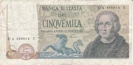 BILLETE DE ITALIA DE 5000 LIRAS DEL AÑO 1973 DE CRISTOBAL COLON  (BANKNOTE) - [ 2] 1946-… : Repubblica