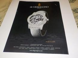PUBLICITE  MONTRE DE GRISOGONO GENEVE 2014 - Jewels & Clocks