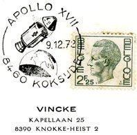 "Théma  ""Espace""  Cachet Spécial Koksijde 9-12-1972 Avec Dessin Apollo XVII - Postmark Collection"