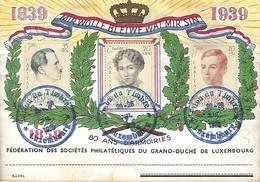 Luxembourg  - Carte  -  1939 - Fédération Des Sociétés Philatéliques Du Grand-Duché De Luxmbourg - Entiers Postaux