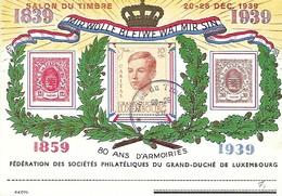 Luxembourg  - Carte  -  1939 - Fédération Des Sociétés Philatéliques Du Grand-Duché De Luxembourg - Entiers Postaux