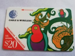 SAINT LUCIA $20 US  , PARROT   286 CSLA  C&W   FINE USED  ** 1782 ** - St. Lucia