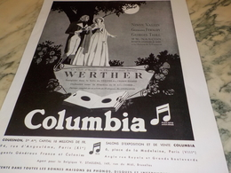 ANCIENNE PUBLICITE WERTHER COLUMBIA DISQUE  1931 - Other
