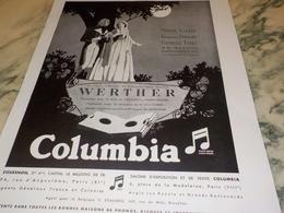 ANCIENNE PUBLICITE WERTHER COLUMBIA DISQUE  1931 - Música & Instrumentos