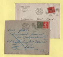 Flier - Paris XVII - R. Jouffroy - Lot De 2 Lettres 7 Lignes Ondulees (espacees + Serrees) - Marcophilie (Lettres)