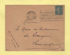 Flier - Paris XVII - R. Jouffroy - Pour Paris Mettre Le Numero D Arrondissement - 1919 - Marcophilie (Lettres)
