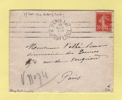 Krag - Paris XVII - R. Jouffroy - 4 Lignes Droites Inegales - 1914 - Marcophilie (Lettres)