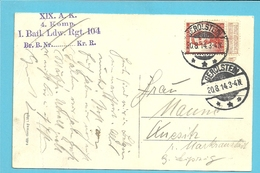 123 Op Kaart GOUVY, Ontwaard Met Duitse Stempel GEROLSTEIN Op 20/8/14 - 1912 Pellens
