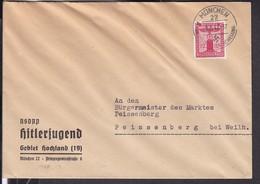 Brief Deutsches Reich Stempel München 1942 , NSDAP  Hitlerjugend - Germany