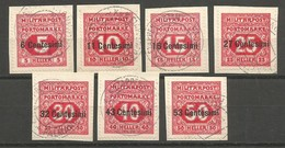 Italia Italien K.u.K. Austria Hungary Mi.P1/P7 Porto Complete Set Used On Piece 1918 - Austrian Occupation
