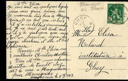 Carte-vue  De Macquenoise (Eglise, école) Obl. Momignies 09/07/13 Pour GHOY  10/07/1913 - Marcophilie