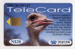 NAMIBIE REF MV CARDS NMB-86 N$20 OISEAU OSTRICH DATE 1999 - Namibië