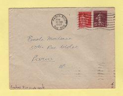 Flier - Paris XVIII - Rue Duc - 7 Lignes Ondulees Simple Cercle - 1937 - Marcophilie (Lettres)