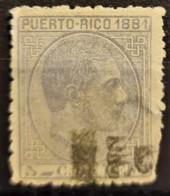 PUERTO RICO 1881 - Canceled - Sc# 51 - 5c - Puerto Rico