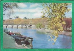 Paris 1er 6e Vue De La Seine Vers Le Louvre Et Le Pont Des Arts 2scans Péniches (biscotte à Tartiner Pelletier) - The River Seine And Its Banks