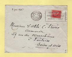 Flier - Paris XIX - Av De Laumiere - Exposition Internationale Paris 1937 - Marcophilie (Lettres)