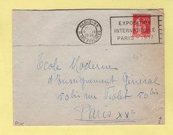 Flier - Paris XX - R. Des Pyrenees - Exposition Internationale Paris 1937 - Marcophilie (Lettres)