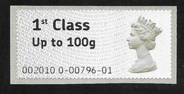 GB Post & Go - 1st Class / 100g - First Issue - 2010 Date Code MNH - Post & Go Stamps