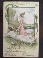Cpa, 1903, Illustrateur-illustration, Deux Femmes élégantes Avec Chapeaux,allongées Au Bord De L'eau, éd A Et M.B N°184, - 1900-1949