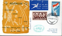 LETTRE 1ER JOUR 1960 - JOHANNESBOURG A ROME - - Avions