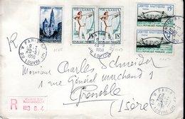 LETTRE RECOMMANDEE 1958 - BEL AFFRANCHISSEMENT - CACHET POSTAL ARRIVEE GRENOBLE - - France
