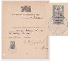 GBS01001 GB EVII Consular Service 5/- On Document / IN HIS MAJESTY'S CONSULAR COURT / Alexandria Egypt - Steuermarken