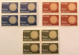 "POR#3670-Complete Set Of 3 Blocks Of 4 MNH Stamps - ""Europa CEPT"" - Portugal - 1970 - Blocs-feuillets"