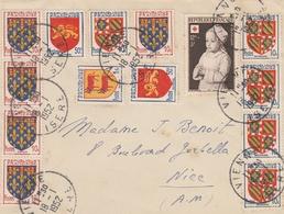 BLASONS X 13 + CROIX ROUGE YT 914 SUR DEVANT LETTRE AU TARIF VIENNE ISERE 18/1/1952 POUR NICE - Lettres & Documents