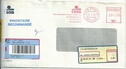 Ema Francotyp Postalia - Recommandé - Lettre De Prague Pour La France - Lettres & Documents