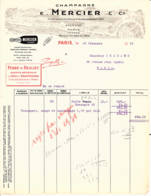 FRANCE - 1935 - Facture - Champagne MERCIER - Epernay - Food