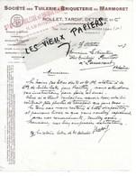 10 - Aube - BREVONNES - Facture ROLLET, TARDIF, DETERRE - Tuilerie, Briqueterie - 1927 - REF 151A - 1900 – 1949