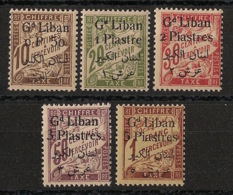 Grand Liban - 1924 - Taxe TT N°Yv. 6 à 10 - Série Complète - Neuf Luxe ** / MNH / Postfrisch - Unused Stamps
