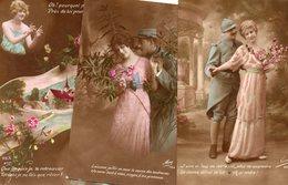 LOT DE 6 CARTES GRANDE GUERRE CARTE 1914-1918 COUPLE FEMME DE POILUS AVEC CORRESPONDANCE - Patriotiques