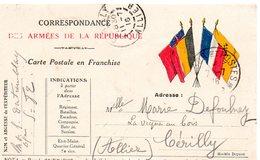CP Correspondance Des Armées De La République  -    4 Drapeaux - - Storia Postale