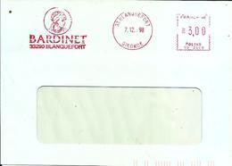 Lettre   EMA  Satas Sv 1998 Bardinet Rhum Boisson Metier 33 Blanquefort C25/26 - EMA (Printer Machine)