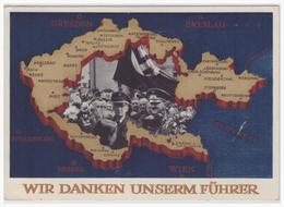 """Sudetenland (002464) Propagandakarte """"Wir Danken Unseren Führer"""" (Hoffmannkarte) Blanko Gestempelt Ossegg 4.12.1938 - Sudetenland"""