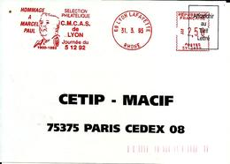 Lettre   EMA  Satas Sv 1993 Hommage à Marcel Paul Personnalité Cmcas 69 Lyon C25/30 - EMA (Printer Machine)