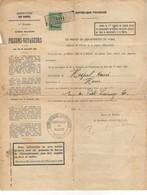 B5   20 02 1924 Enregistrement Autorisation Ouverture D'un Colombier Bureau Militaire Des Pigeons Voyageurs  Region Nord - Fiscaux