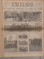 Journal EXCELSIOR 5 Août 1919  Hommage Aux Héros De L'YSER Photos à DUNKERQUE Et à DIXMUDE CLEMENCEAU à RETHEL JUNIVILLE - 1914-18