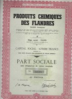 PRODUITS CHIMIQUES DES FLANDRES * GAND * GENT * 1955 * PART SOCIALE DESIGNATION VALEUR NOMINALE * - Industrie