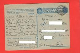 Franchigia Tenente LANCIERI PM Bologna Per Giulianova Paese 1943 Cartolina Postale - 1900-44 Vittorio Emanuele III