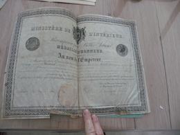Diplôme Empire Médaille D'Honneur Sceau 1865 En L'état - Diplômes & Bulletins Scolaires