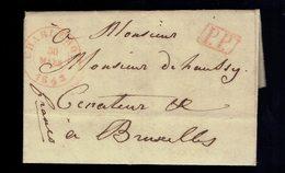 """Lac De Griffe Enc. P.P. Charleroi  ( T. 15 ) Charleroy 30 Mars 1843 + Bruxelles  Manuscrit """" Franco """" - 1830-1849 (Onafhankelijk België)"""