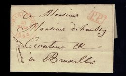"Lac De Griffe Enc. P.P. Charleroi  ( T. 15 ) Charleroy 30 Mars 1843 + Bruxelles  Manuscrit "" Franco "" - 1830-1849 (Belgio Indipendente)"