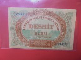 LETTONIE 10 RUBLI 1919 CIRCULER-REPARER (B.12) - Latvia