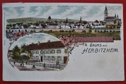 Cpa 67 HERBITZHEIM  Gruss Aus Multivues Gasthaus Z. Krone V. Joseph Schreiner Total Ansicht - France