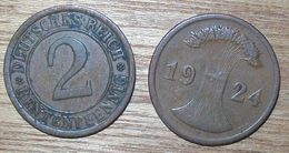 N°396 2 RENTENPFENNIG 1924E - [ 3] 1918-1933 : República De Weimar