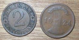 N°397 2 RENTENPFENNIG 1924J - [ 3] 1918-1933 : República De Weimar
