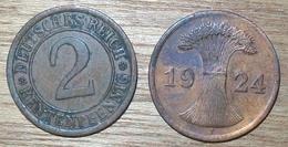 N°398 2 RENTENPFENNIG 1924J - 2 Rentenpfennig & 2 Reichspfennig