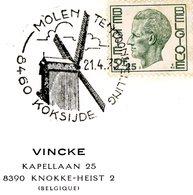 """Thema """"moulin"""" - Cachet Spécial 21-4-1973 Koksijde (Coxyde) Avec Dessin De Moulin à Vent - Postmark Collection"""